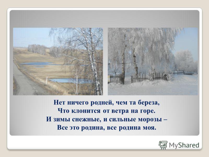 Нет ничего родней, чем та береза, Что клонится от ветра на горе. И зимы снежные, и сильные морозы – Все это родина, все родина моя.