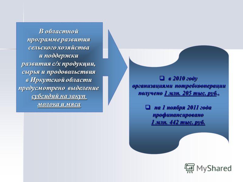 В областной программе развития сельского хозяйства и поддержки развития с/х продукции, сырья и продовольствия в Иркутской области предусмотрено выделение субсидий на закуп молока и мяса в 2010 году в 2010 году организациями потребкооперации получено