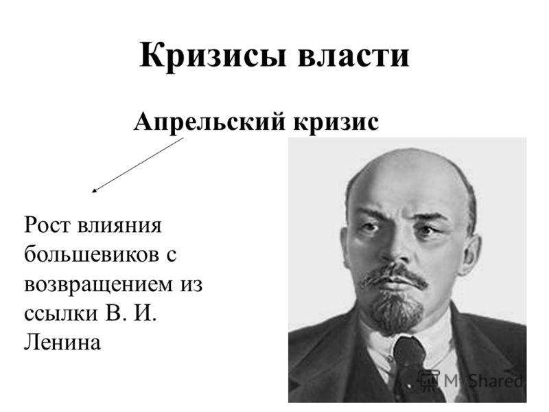 Кризисы власти Апрельский кризис Рост влияния большевиков с возвращением из ссылки В. И. Ленина