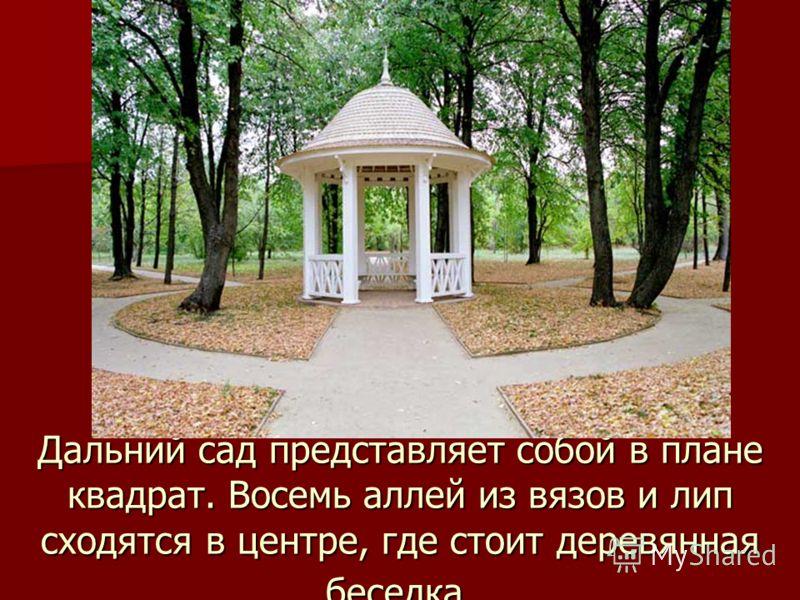 Дальний сад представляет собой в плане квадрат. Восемь аллей из вязов и лип сходятся в центре, где стоит деревянная беседка.