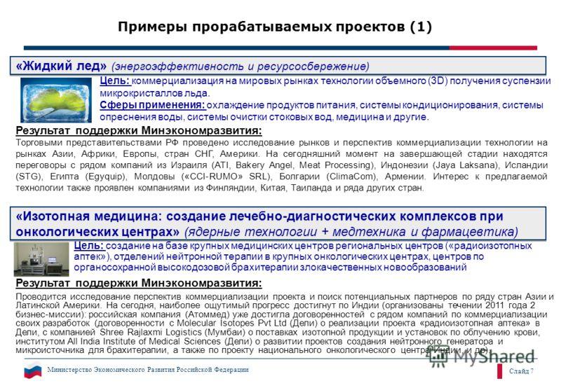 Министерство Экономического Развития Российской Федерации Слайд 7 «Изотопная медицина: создание лечебно-диагностических комплексов при онкологических центрах» (ядерные технологии + медтехника и фармацевтика) «Изотопная медицина: создание лечебно-диаг