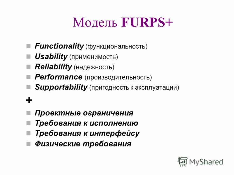 Модель FURPS+ Functionality (функциональность) Usability (применимость) Reliability (надежность) Performance (производительность) Supportability (пригодность к эксплуатации) + Проектные ограничения Требования к исполнению Требования к интерфейсу Физи