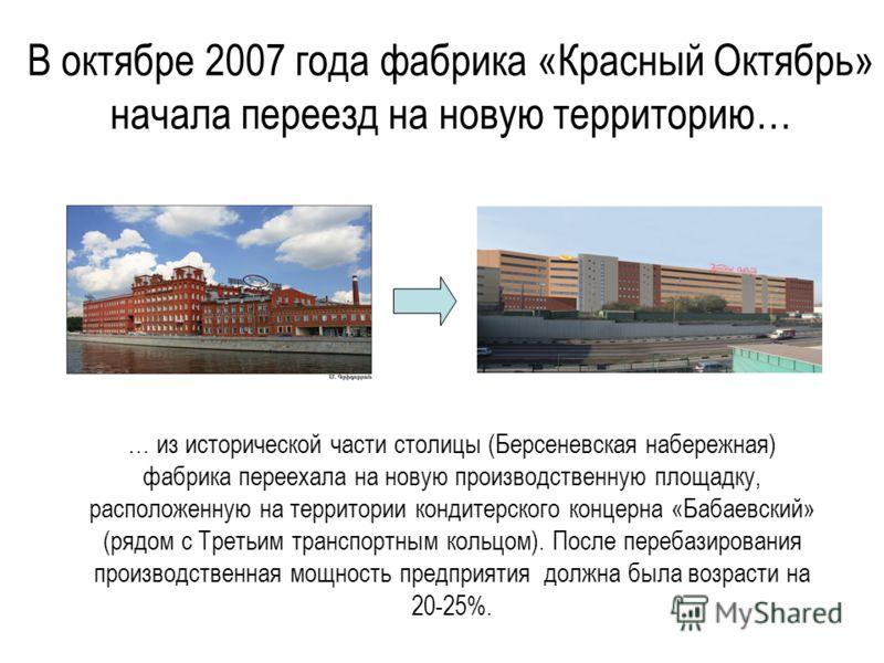 В октябре 2007 года фабрика «Красный Октябрь» начала переезд на новую территорию… … из исторической части столицы (Берсеневская набережная) фабрика переехала на новую производственную площадку, расположенную на территории кондитерского концерна «Баба