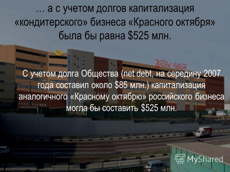 … а с учетом долгов капитализация «кондитерского» бизнеса «Красного октября» была бы равна $525 млн. С учетом долга Общества (net debt, на середину 2007 года составил около $85 млн.) капитализация аналогичного «Красному октябрю» российского бизнеса м