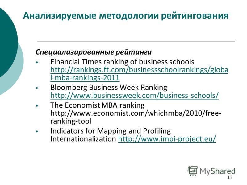 13 Анализируемые методологии рейтингования Специализированные рейтинги Financial Times ranking of business schools http://rankings.ft.com/businessschoolrankings/globa l-mba-rankings-2011 http://rankings.ft.com/businessschoolrankings/globa l-mba-ranki