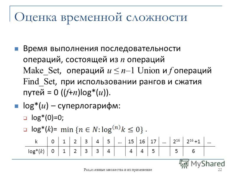 Оценка временной сложности Время выполнения последовательности операций, состоящей из n операций Make_Set, операций u n–1 Union и f операций Find_Set, при использовании рангов и сжатия путей = 0 (( f + n )log*( u )). log*( u ) – суперлогарифм: log*(0