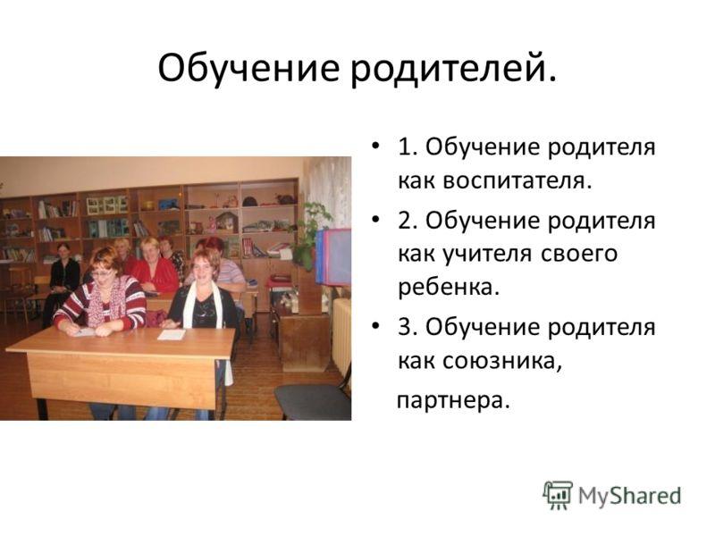 Обучение родителей. 1. Обучение родителя как воспитателя. 2. Обучение родителя как учителя своего ребенка. 3. Обучение родителя как союзника, партнера.