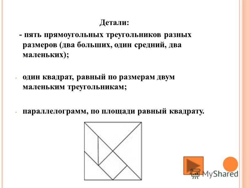 Детали: - пять прямоугольных треугольников разных размеров (два больших, один средний, два маленьких); - один квадрат, равный по размерам двум маленьким треугольникам; - параллелограмм, по площади равный квадрату.