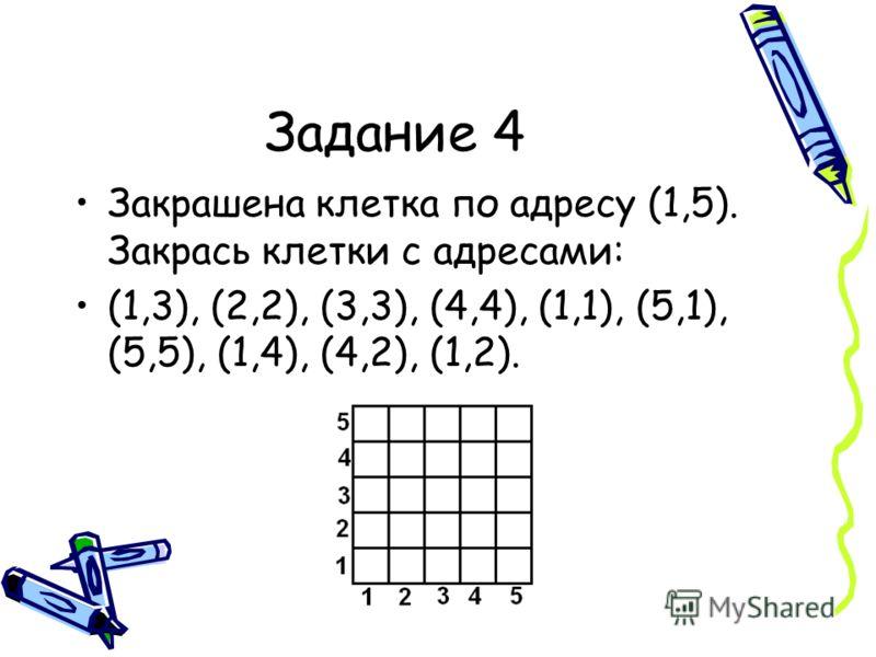 Задание 4 Закрашена клетка по адресу (1,5). Закрась клетки с адресами: (1,3), (2,2), (3,3), (4,4), (1,1), (5,1), (5,5), (1,4), (4,2), (1,2).