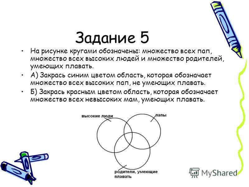 Задание 5 На рисунке кругами обозначены: множество всех пап, множество всех высоких людей и множество родителей, умеющих плавать. А) Закрась синим цветом область, которая обозначает множество всех высоких пап, не умеющих плавать. Б) Закрась красным ц
