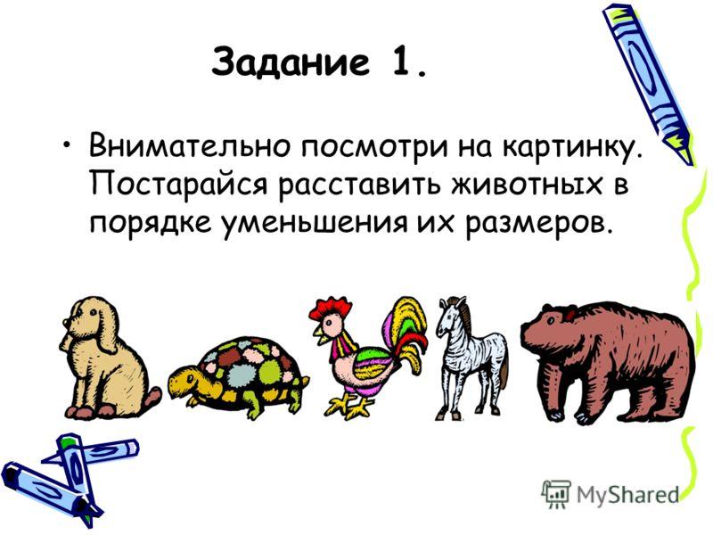 Задание 1. Внимательно посмотри на картинку. Постарайся расставить животных в порядке уменьшения их размеров.