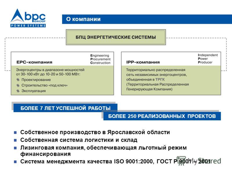 О компании Собственное производство в Ярославской области Собственная система логистики и склад Лизинговая компания, обеспечивающая льготный режим финансирования Система менеджмента качества ISO 9001:2000, ГОСТ Р 9001 – 2001 БОЛЕЕ 7 ЛЕТ УСПЕШНОЙ РАБО