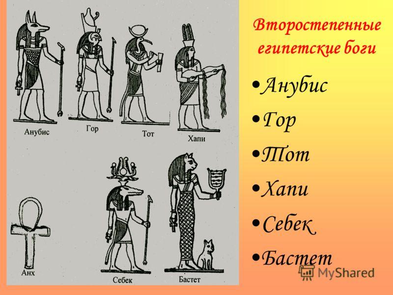 Второстепенные египетские боги Анубис Гор Тот Хапи Себек Бастет