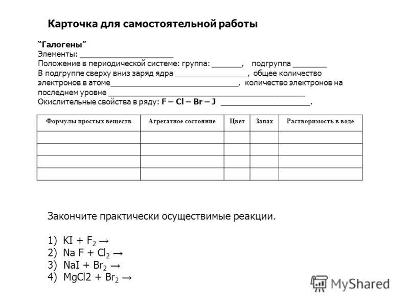 Карточка для самостоятельной работы Галогены Элементы: ______________________ Положение в периодической системе: группа: _______, подгруппа ________ В подгруппе сверху вниз заряд ядра _________________, общее количество электронов в атоме____________