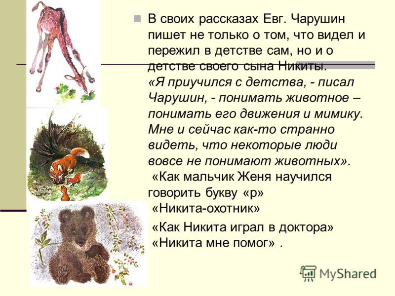 В своих рассказах Евг. Чарушин пишет не только о том, что видел и пережил в детстве сам, но и о детстве своего сына Никиты. «Я приучился с детства, - писал Чарушин, - понимать животное – понимать его движения и мимику. Мне и сейчас как-то странно вид