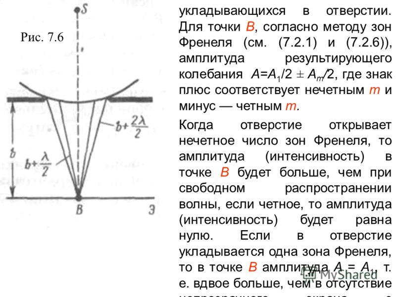 укладывающихся в отверстии. Для точки В, согласно методу зон Френеля (см. (7.2.1) и (7.2.6)), амплитуда результирующего колебания A=A 1 /2 ± A m /2, где знак плюс соответствует нечетным т и минус четным т. Когда отверстие открывает нечетное число зон