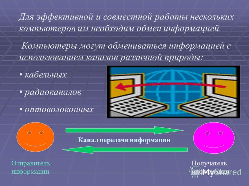 Для эффективной и совместной работы нескольких компьютеров им необходим обмен информацией. Компьютеры могут обмениваться информацией с использованием каналов различной природы: кабельных радиоканалов оптоволоконных Получатель информации Отправитель и