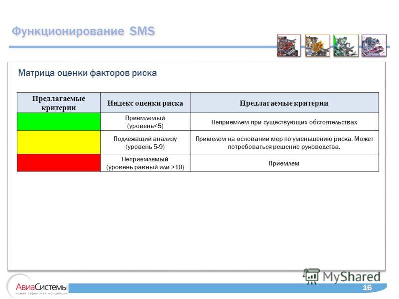 16 Матрица оценки факторов риска Функционирование SMS Предлагаемые критерии Индекс оценки рискаПредлагаемые критерии Приемлемый (уровень10) Приемлем