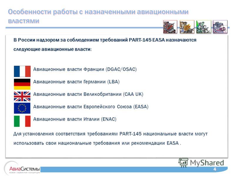 Особенности работы с назначенными авиационными властями 4 4 В России надзором за соблюдением требований PART-145 EASA назначаются следующие авиационные власти: Авиационные власти Франции (DGAC/OSAC) Авиационные власти Германии (LBA) Авиационные власт