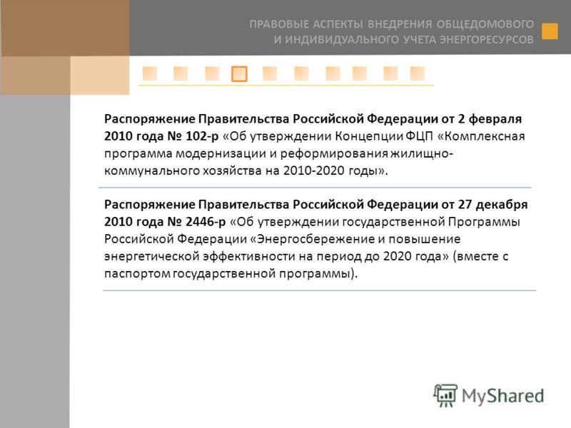 Распоряжение Правительства Российской Федерации от 2 февраля 2010 года 102-р «Об утверждении Концепции ФЦП «Комплексная программа модернизации и реформирования жилищно- коммунального хозяйства на 2010-2020 годы». Распоряжение Правительства Российской