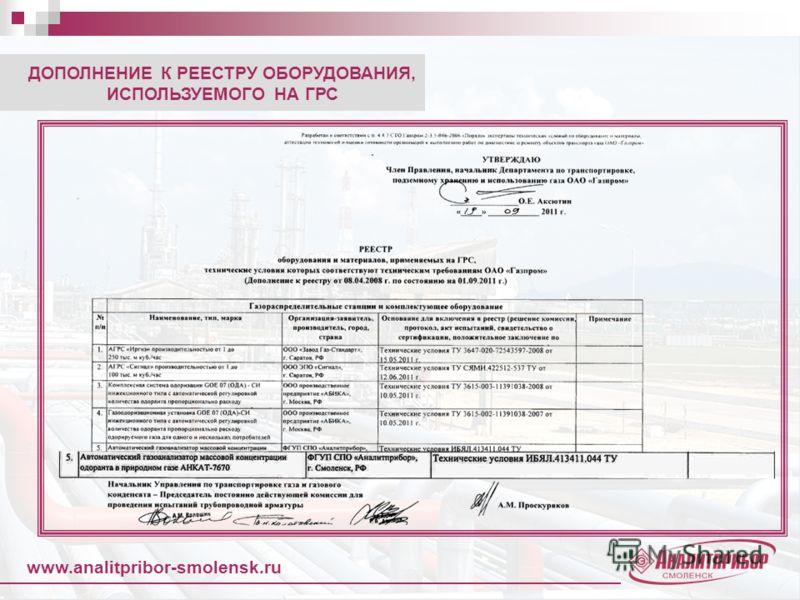 www.analitpribor-smolensk.ru ДОПОЛНЕНИЕ К РЕЕСТРУ ОБОРУДОВАНИЯ, ИСПОЛЬЗУЕМОГО НА ГРС