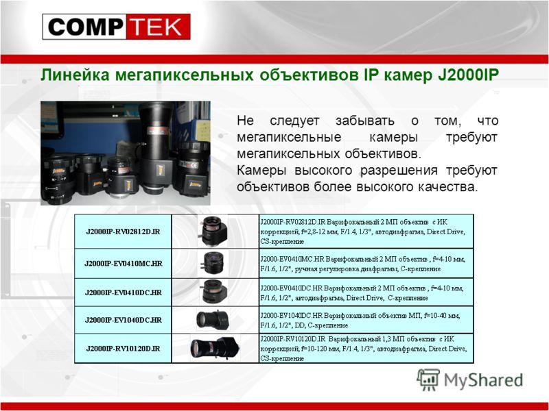 Линейка мегапиксельных объективов IP камер J2000IP Не следует забывать о том, что мегапиксельные камеры требуют мегапиксельных объективов. Камеры высокого разрешения требуют объективов более высокого качества.
