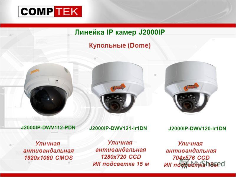 Линейка IP камер J2000IP Купольные (Dome) J2000IP-DWV112-PDN J2000IP-DWV121-Ir1DN J2000IP-DWV120-Ir1DN Уличная антивандальная 1920x1080 CMOS Уличная антивандальная 1280x720 CCD ИК подсветка 15 м Уличная антивандальная 704x576 CCD ИК подсветка 15м