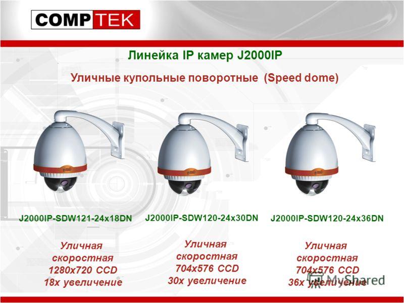 Линейка IP камер J2000IP Уличные купольные поворотные (Speed dome) J2000IP-SDW121-24x18DN J2000IP-SDW120-24x30DN J2000IP-SDW120-24x36DN Уличная скоростная 1280x720 CCD 18x увеличение Уличная скоростная 704x576 CCD 30x увеличение Уличная скоростная 70