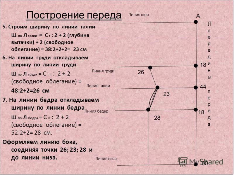 Построение переда А 5. Строим ширину по линии талии Ш по Л талии = С т : 2 + 2 (глубина вытачки) + 2 (свободное облегание) = 38:2+2+2= 23 см 6. На линии груди откладываем ширину по линии груди Ш по Л груди = С г II : 2 + 2 (свободное облегание) = 48: