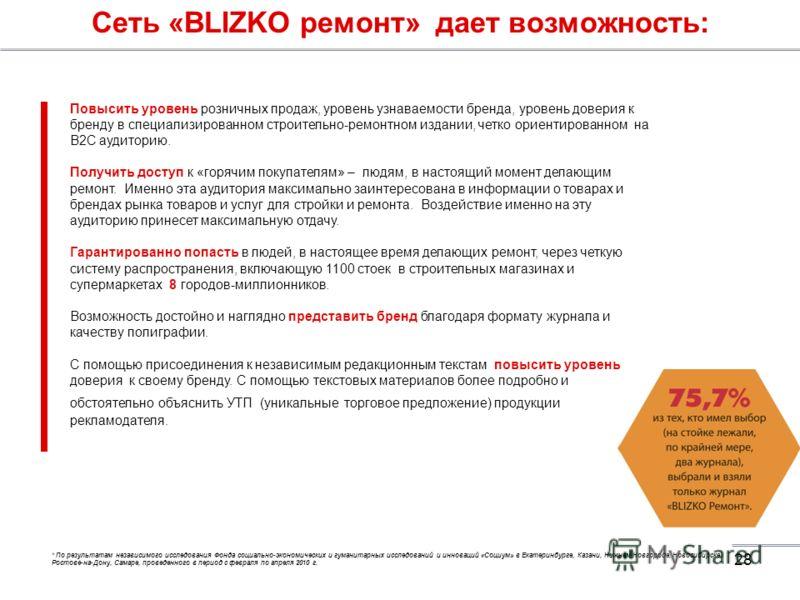 28 Сеть «BLIZKO ремонт» дает возможность: Повысить уровень розничных продаж, уровень узнаваемости бренда, уровень доверия к бренду в специализированном строительно-ремонтном издании, четко ориентированном на В2С аудиторию. Получить доступ к «горячим
