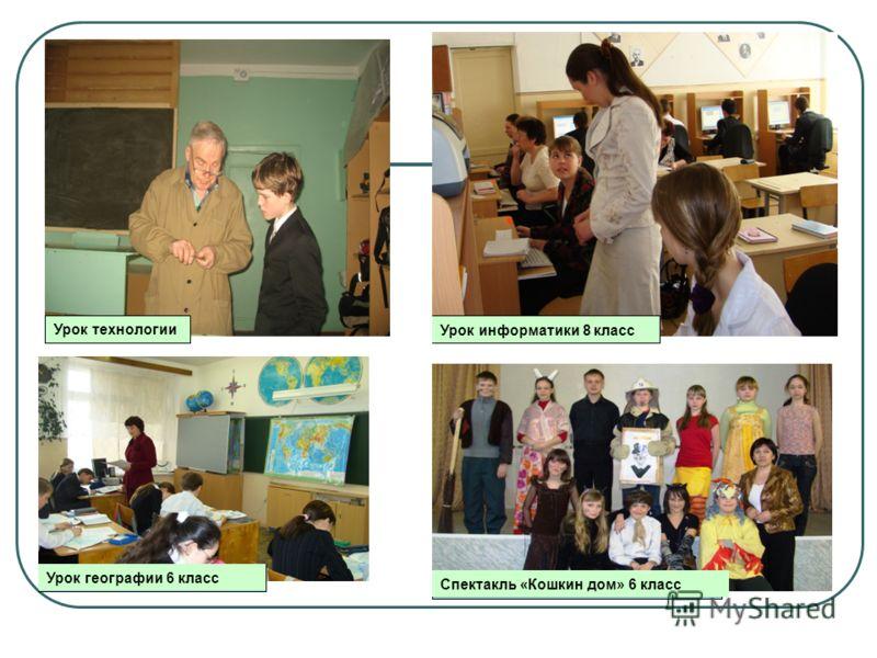 Урок технологии Урок информатики 8 класс Урок географии 6 класс Спектакль «Кошкин дом» 6 класс