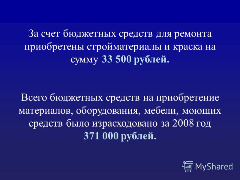 За счет бюджетных средств для ремонта приобретены стройматериалы и краска на сумму 33 500 рублей. Всего бюджетных средств на приобретение материалов, оборудования, мебели, моющих средств было израсходовано за 2008 год 371 000 рублей.