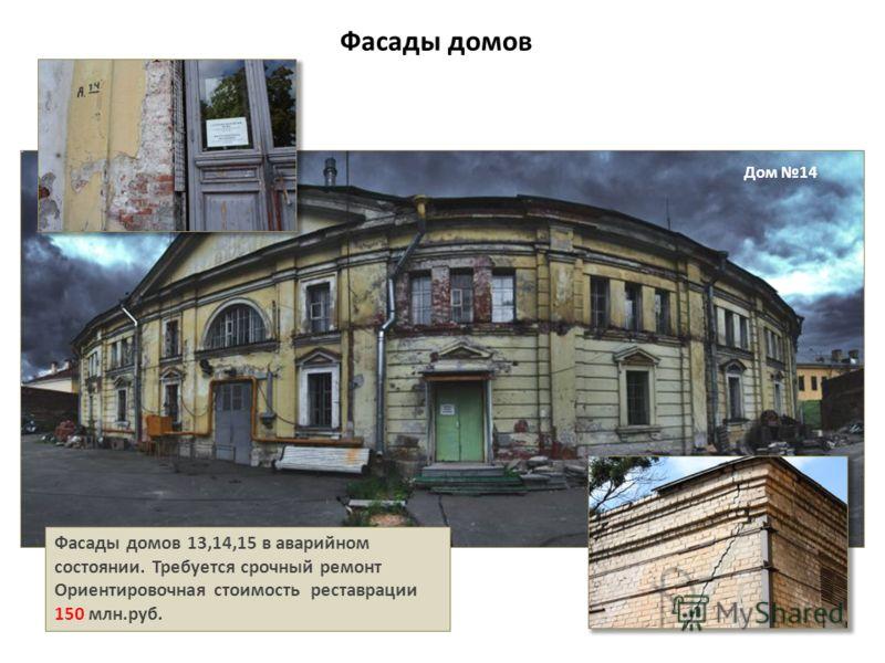 Фасады домов Фасады домов 13,14,15 в аварийном состоянии. Требуется срочный ремонт Ориентировочная стоимость реставрации 150 млн.руб. Дом 14