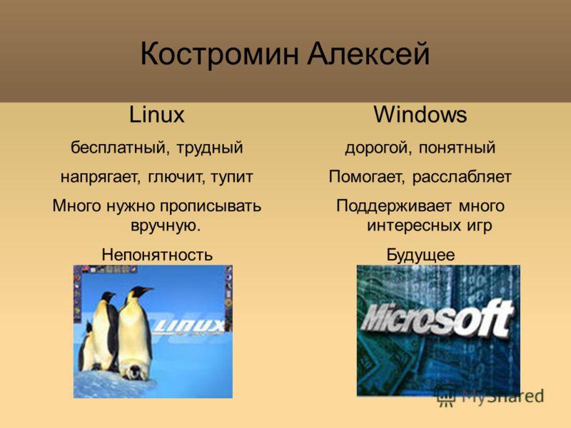 Костромин Алексей Linux бесплатный, трудный напрягает, глючит, тупит Много нужно прописывать вручную. Непонятность Windows дорогой, понятный Помогает, расслабляет Поддерживает много интересных игр Будущее