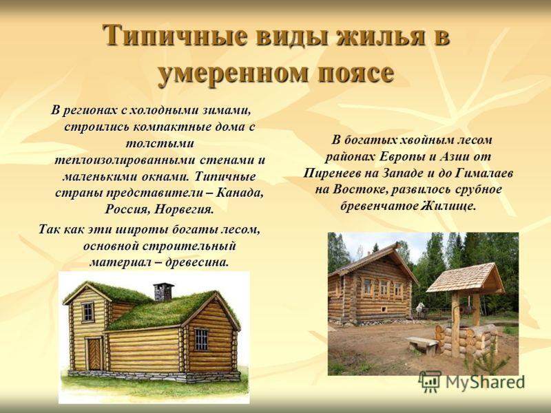 Типичные виды жилья в умеренном поясе В регионах с холодными зимами, строились компактные дома с толстыми теплоизолированными стенами и маленькими окнами. Типичные страны представители – Канада, Россия, Норвегия. В регионах с холодными зимами, строил