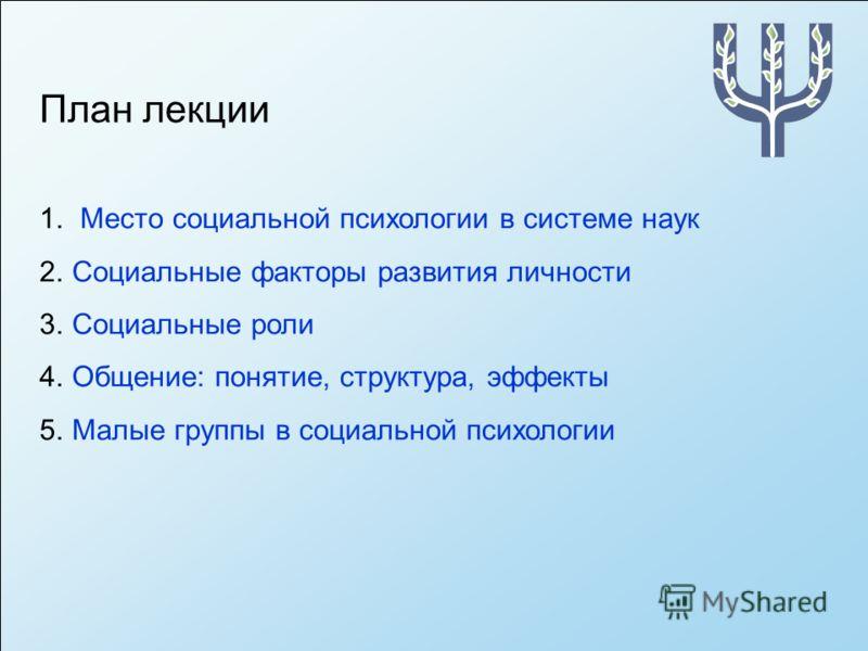 План лекции 1. Место социальной психологии в системе наук 2.Социальные факторы развития личности 3.Социальные роли 4.Общение: понятие, структура, эффекты 5.Малые группы в социальной психологии