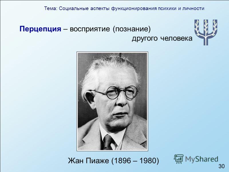 Тема: Социальные аспекты функционирования психики и личности 30 Перцепция – восприятие (познание) другого человека Жан Пиаже (1896 – 1980)