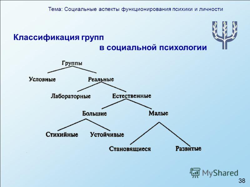 Тема: Социальные аспекты функционирования психики и личности 38 Классификация групп в социальной психологии