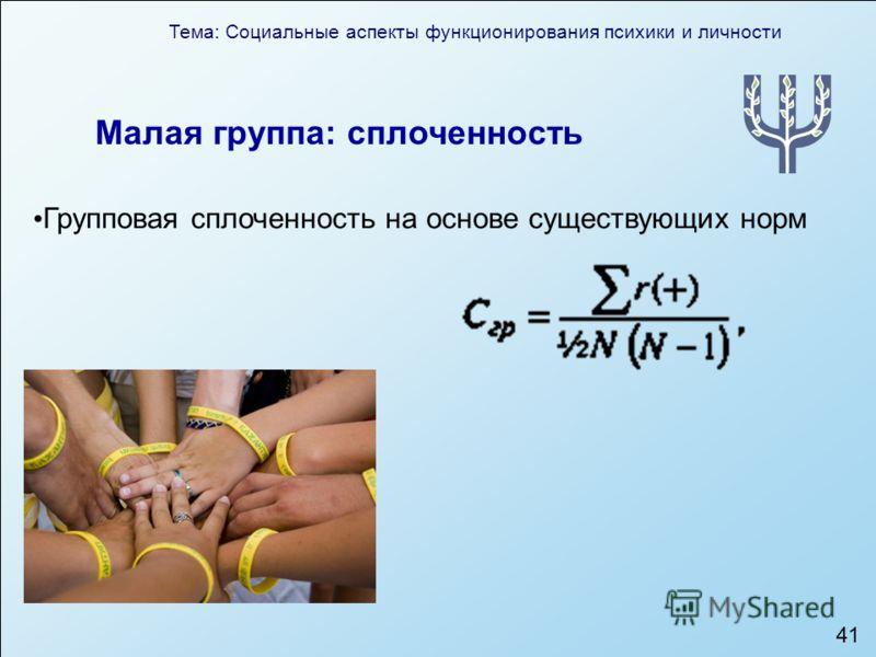 Тема: Социальные аспекты функционирования психики и личности 41 Малая группа: сплоченность Групповая сплоченность на основе существующих норм