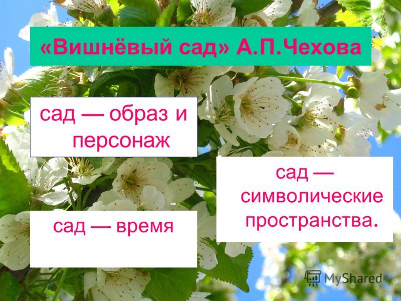 « Вишнёвый сад » А. П. Чехова сад образ и персонаж сад время сад символические пространства.