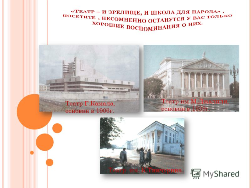 Театр Г.Камала, основан в 1906г. Театр им.М.Джалиля, основан в 1939г. Театр им. К.Тинчурина.