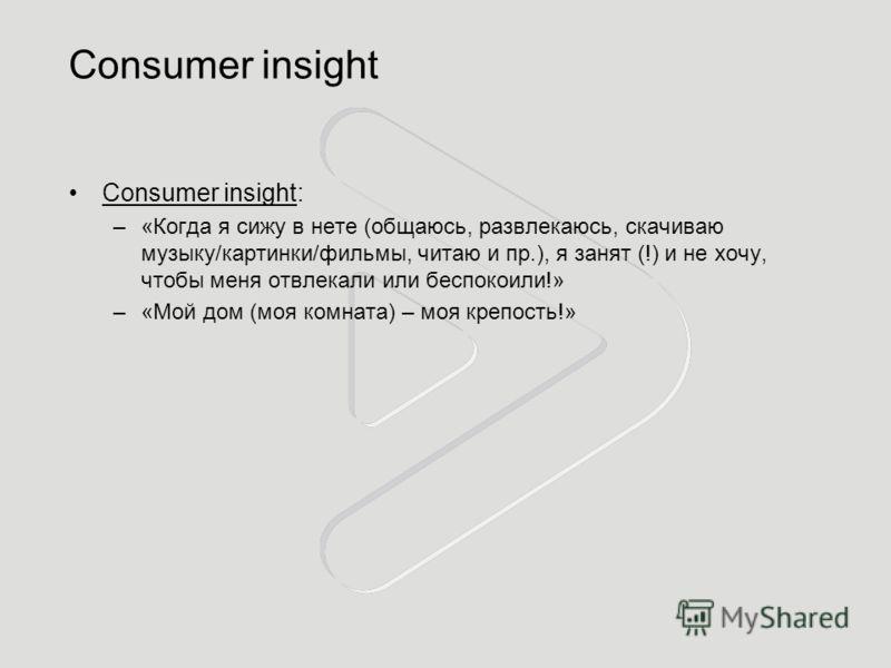 Consumer insight Consumer insight: –«Когда я сижу в нете (общаюсь, развлекаюсь, скачиваю музыку/картинки/фильмы, читаю и пр.), я занят (!) и не хочу, чтобы меня отвлекали или беспокоили!» –«Мой дом (моя комната) – моя крепость!»