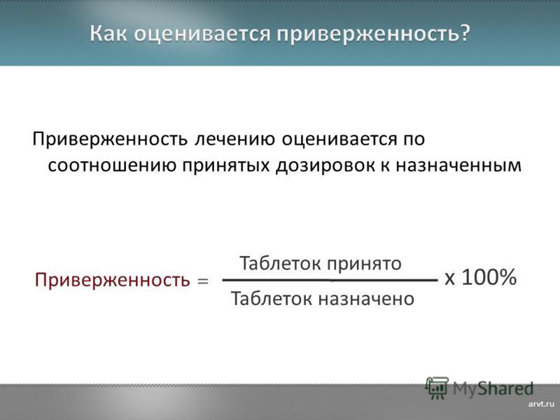 Приверженность лечению оценивается по соотношению принятых дозировок к назначенным Приверженность = Таблеток принято Таблеток назначено x 100% arvt.ru
