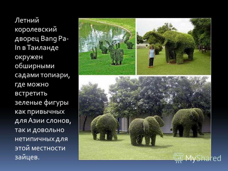 Летний королевский дворец Bang Pa- In в Таиланде окружен обширными садами топиари, где можно встретить зеленые фигуры как привычных для Азии слонов, так и довольно нетипичных для этой местности зайцев.