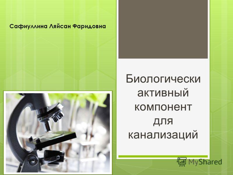 Биологически активный компонент для канализаций Сафиуллина Ляйсан Фаридовна
