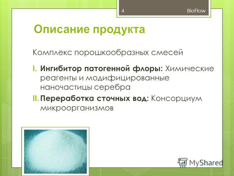 Комплекс порошкообразных смесей I. Ингибитор патогенной флоры: Химические реагенты и модифицированные наночастицы серебра II. Переработка сточных вод: Консорциум микроорганизмов 4BioFlow