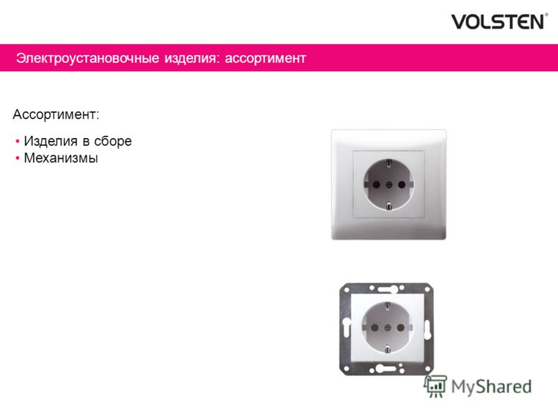 Электроустановочные изделия: ассортимент Ассортимент: Изделия в сборе Механизмы