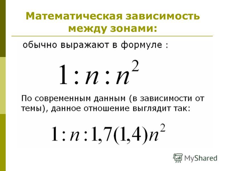 Математическая зависимость между зонами: