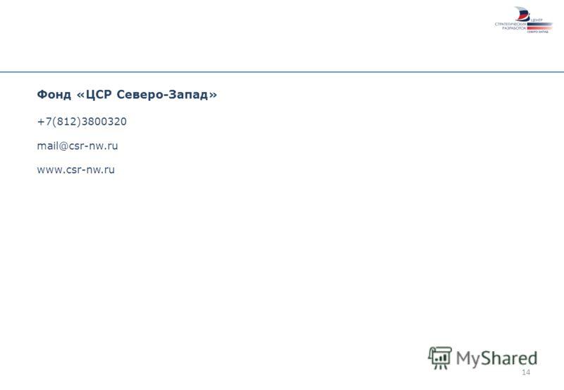 14 Фонд «ЦСР Северо-Запад» +7(812)3800320 mail@csr-nw.ru www.csr-nw.ru