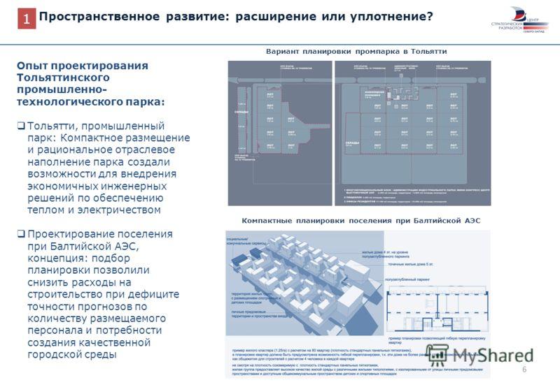 6 Пространственное развитие: расширение или уплотнение? Вариант планировки промпарка в Тольятти 1 Опыт проектирования Тольяттинского промышленно- технологического парка: Тольятти, промышленный парк: Компактное размещение и рациональное отраслевое нап